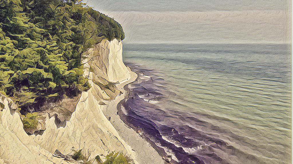 Rügen Kreideküste an der Ostsee.