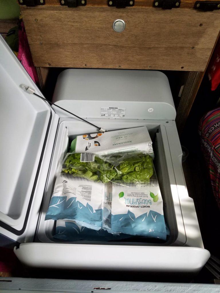 Kompressor-Kühlbox-Mobicool im Einsatz im Camper. Kühlbox ist mit  Lebensmitteln gefüllt.