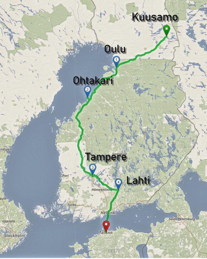 Unsere Route durch den Süden von Finnland im Herbst.