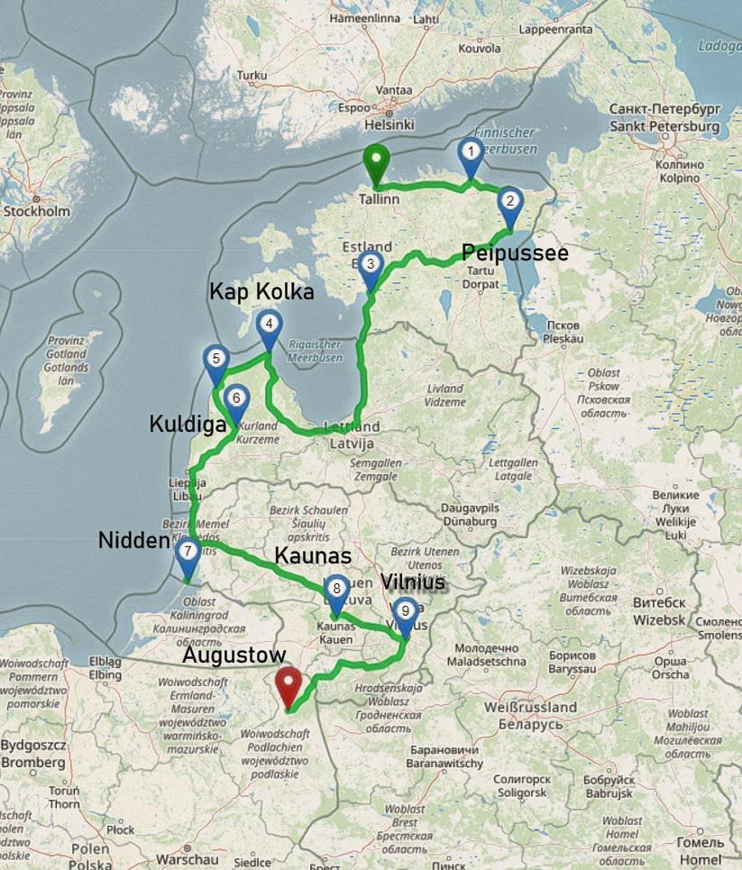 Unsere Route mit dem Camper durch das Baltikum