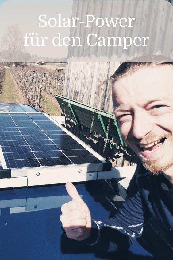 Solaranlage für den Camper auf selbt gebauter Dachhalterung